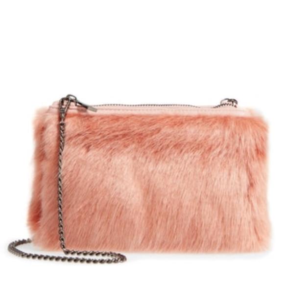 Street Level Handbags - Street Level Faux Fur Pink Clutch Crossbody Bag